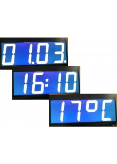 LCD numerical display for time date and temperatur